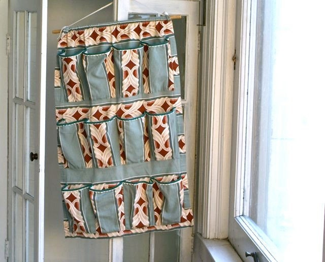 Vintage Handmade Hanging Barkcloth Fabric Shoe Storage Rack