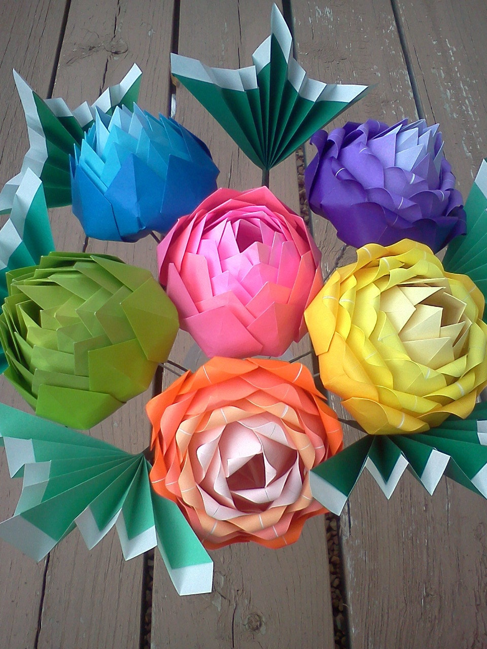 Origami rainbow blooms by Dancusa on Etsy - photo#45