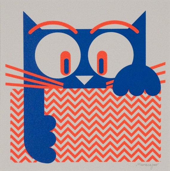 Cat with tablecloth - Silkscreen