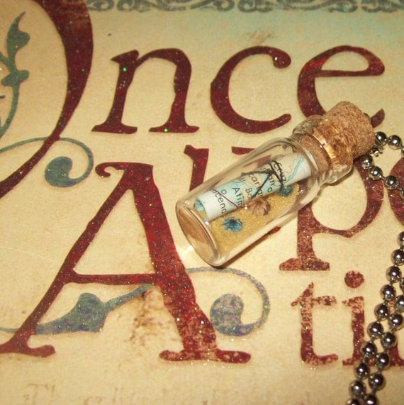 Miniature Glass Bottle Necklace / Map and Treasure /No. 85