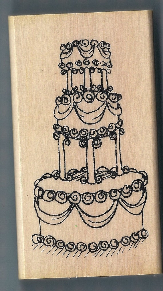 Large wood mounted rubber stamp wedding cake for Wedding dress rubber stamp