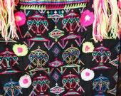 S A L E - GUATEMALA BAG// Vintage 90s Bright NEON Colorful Ethnic Woven Purse, Long Strap and Fringe