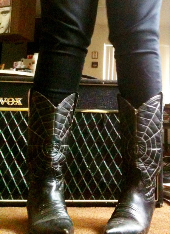 Vintage Black Southern Gothic Spiderweb Cowboy Boots Spooky
