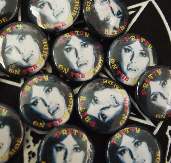 PRETTY on the INSIDE// Sharon Tate Vampire Pin Button, Satanic and Colorful