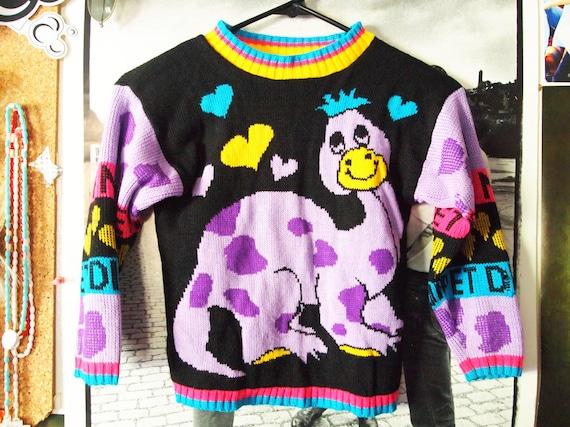 My Friend DINOSAUR// Vintage 80s Colorful Purple Brontosaurus Sweater, XXS