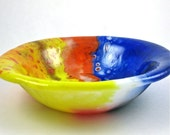 Fused Glass Bowl - Colorful Free Formed Potmelt - yellow, blue and orange - Glass Serving Bowl
