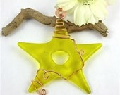 Fused Glass Star Suncatcher - Yellow Fused Glass