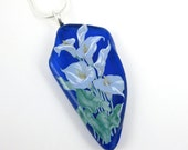 Fused Glass Necklace Cobalt Blue Recycled Wine Bottle Fused Glass Jewelry