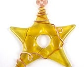 Amber Fused Glass Star Suncatcher