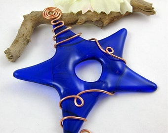 Cobalt Blue Glass Star Ornament - Blue Fused Glass Star Suncatcher Christmas Tree Ornament - Glass Sun Catcher - Cobalt Star Ornament