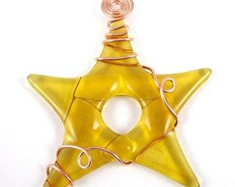 Amber Fused Glass Star Suncatcher
