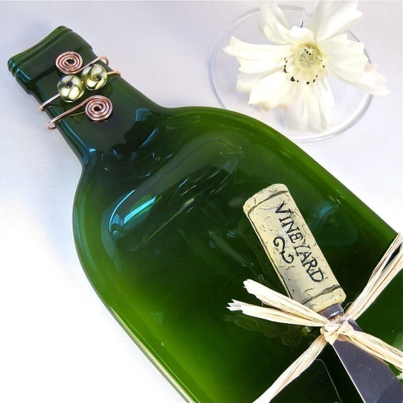 Flattened Wine Bottle Serving Tray - Dark Green and Eco Friendly