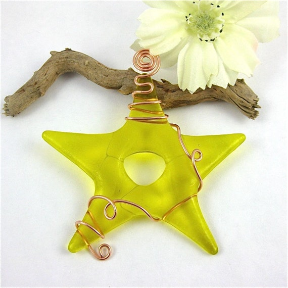 Fused Glass Star Suncatcher - Yellow Fused Glass