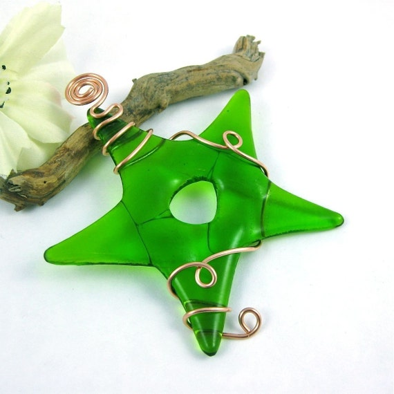 Fused Glass Star Ornament  - Green Fused Glass