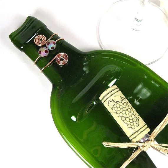 Flattened Wine Bottle Serving Tray - Emerald Green and Eco Friendly