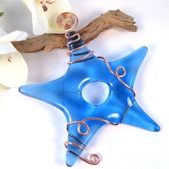 Fused Glass Star Suncatcher Ornament - Blue Glass