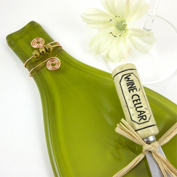 Flattened Wine Bottle Cheese Tray - Olive Green and Eco Friendly