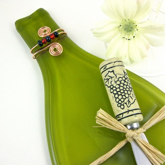 Flattened Wine Bottle Cheese Tray Olive Green and Eco Friendly