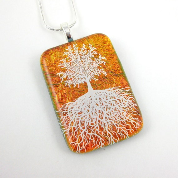 Dichroic Glass Jewelry Tree of Life Necklace Orange Fused Glass