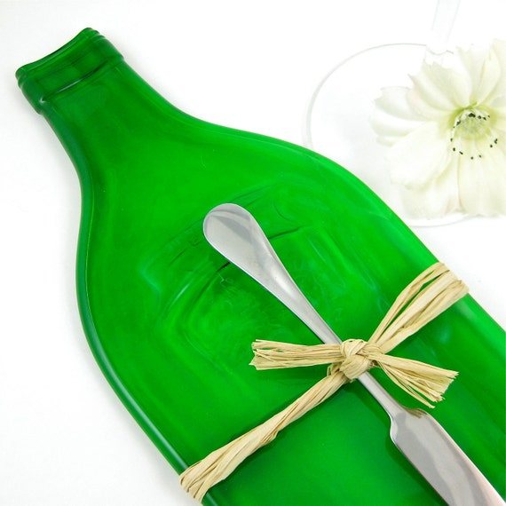 Flattened Bottle Cheese Plate  - Recycled Martini and Rossi Asti Spumante Vermouth Bottle