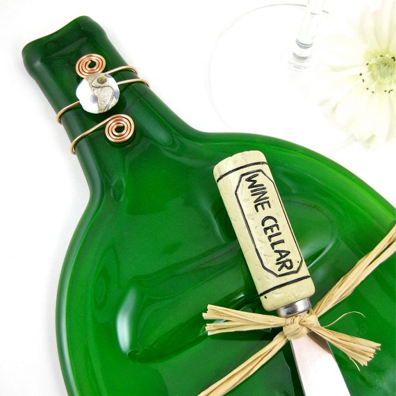 Large Recycled Wine Bottle Plate - Olive Green and Eco Friendly