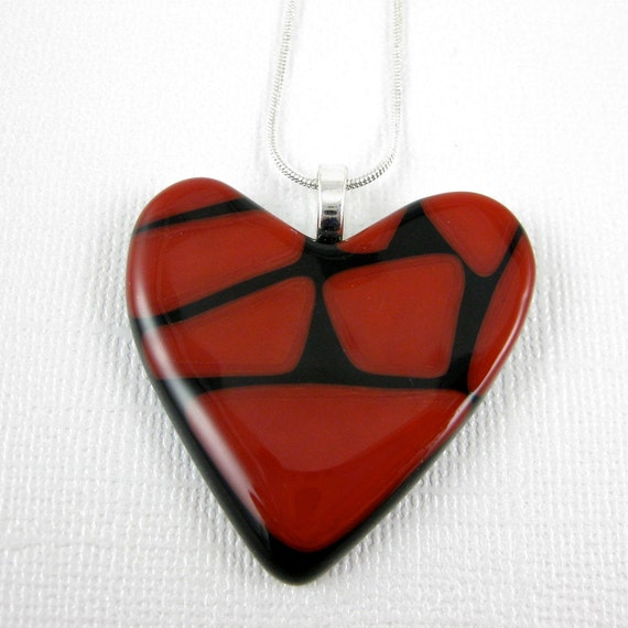 Broken Heart Glass Necklace - Red and Black Fused Glass Heart Pendant