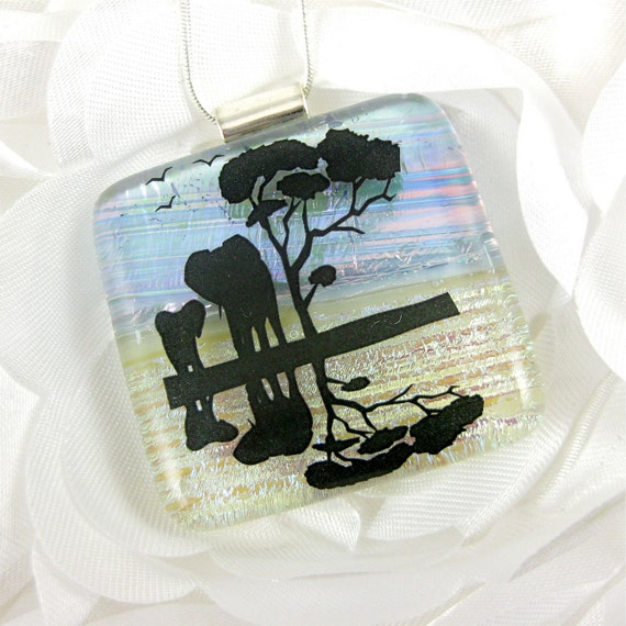 Mother and Baby Elephant Dichroic Glass Pendant