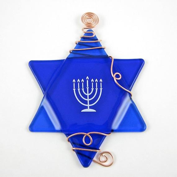 Fused Glass Star of David Suncatcher Ornament - Cobalt Blue