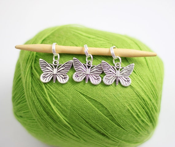 6 Knitting Stitch Markers -Butterflies