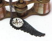 Steampunk Wing Vintage Necklace 17 Jewels Gunmetal Noir Designed by Mystic Pieces