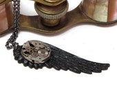 Steampunk Wing OOAK Necklace Vintage Watch Movement Dark Noir Designed By Mystic Pieces