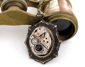 Stunning Steampunk Necklace Neo Victorian Vintage Watch Movement Exclusive Design by Mystic Pieces