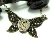 Darling Butterfly Steampunk OOAK Necklace Vintage Watch Antique Brass Filigree Designed by Mystic Pieces