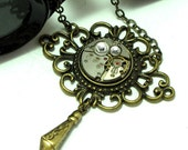 Neo Victorian Steampunk OOAK Necklace Vintage Watch Part Filigree Swarovski Exclusive Design By Mystic Pieces
