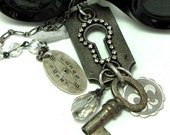 Steampunk OOAK Long Necklace Vintage Keyhole Watch Dial Skeleton Key Exclusive Design by Mystic Pieces