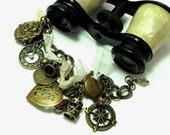 Delightful Charm Bracelet OOAK Crown Topaz Crystal Tea Pot Clock Vintage Lace Exclusive Design By Mystic Pieces