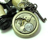 Steampunk OOAK Vintage Pocket Watch Movement Necklace Long Vintage Key Exclusive Design By Mystic Pieces