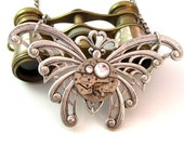 Butterfly OOAK Steampunk Necklace Large 17 Jewels Vintage Watch Movement Swarovski Exclusive Design By Mystic Pieces