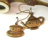 Tea Time Earrings Cup and Teapot Steampunk By Mystic Pieces