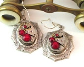 Red Steampunk Earrings Identical Vintage Watch Movements Swarovski Cosplay Upcycled Designed By Mystic Pieces