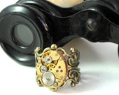 Neo Victorian Steampunk Ring Vintage Watch Movement Antique Brass and Gold Designed By Mystic Pieces