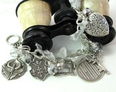 Neo Victorian Steampunk Charm Bracelet Crystal Key  Heart Silver Designed By Mystic Pieces