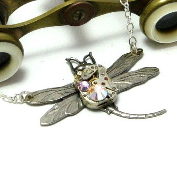 Dragon Fly Steampunk Necklace Swarovski Vintage Mechanical Watch Movement Designed by Mystic Pieces