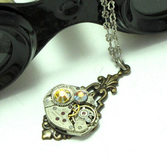 Enchanting Steampunk Necklace 17 Jewels Vintage Watch Movement Swarovski Neo Victorian By Mystic Pieces
