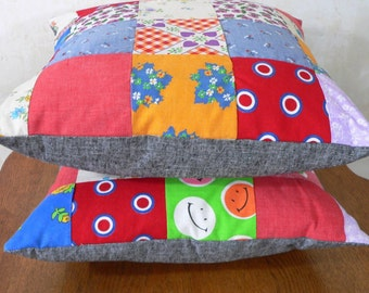 16x16 inch Pillow or Pillow Cover--Recycled Groovy Vintage Quilt -- Upcycled Charm