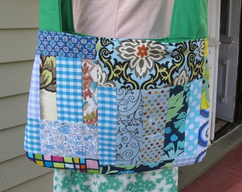 CLEARANCE Around Town Bag - Patchwork Blues Aquas and Greens
