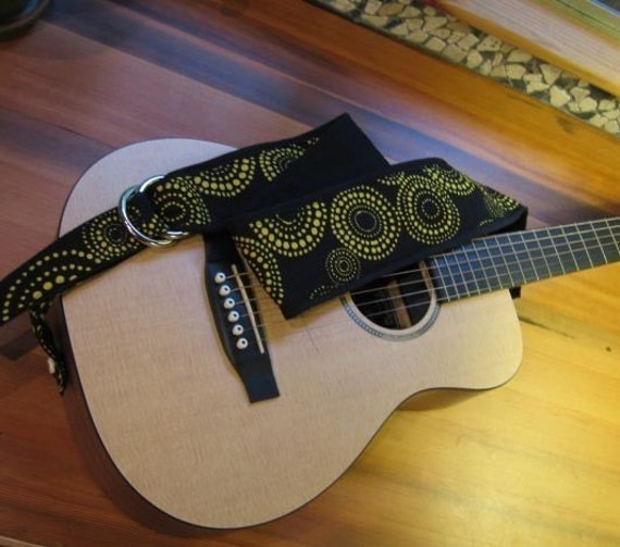 Vegan Cloth Guitar Strap- Yellow Star Pattern