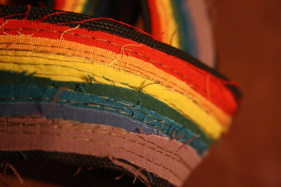 Canvas Belt- Frayed Rainbow Design black canvas- vegan, all canvas and reclaimed fabric-unique design- great gift for boyfriends-girlfriends