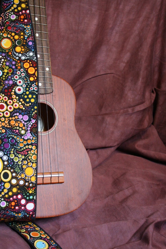 Ukulele Strap, vegan-Galactic pattern-music-gifts for musicians-handmade-canvas-unique gifts-boyfriends-girlfriends-unique-cool gift