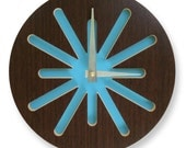 10in Kona Splat on Blue Modern Wall Clock